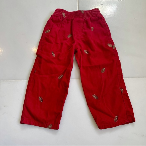 Red Corduroy Pants with Embroidered Footballs 2T